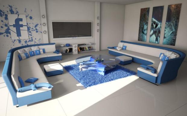 Una sala o cuarto de estar al estilo Facebook.