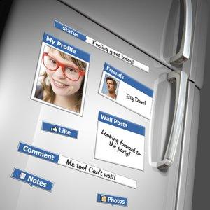 Magnetos interesantes que permiten escribir historias en el formato de Facebook. Son ideales para la cocina.