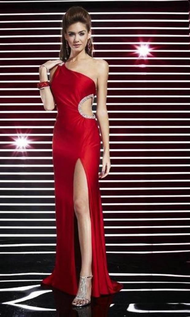Floor Length Open Back Cut Out Side Front Slit One Shoulder Natural Red Prom Dresses 2012
