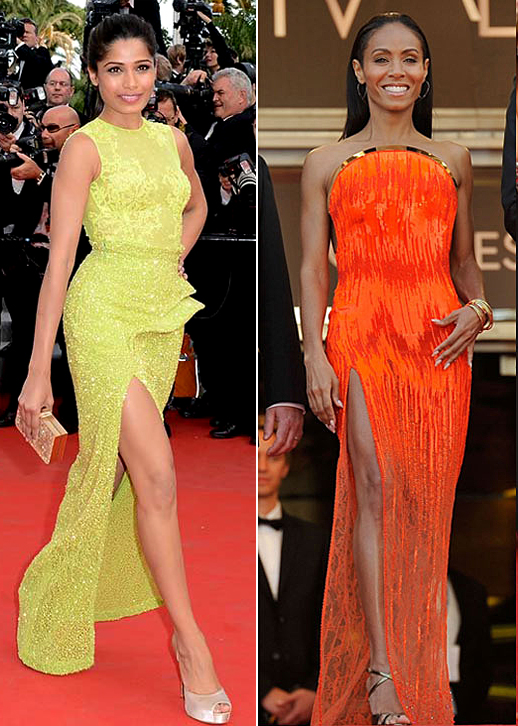 jada-pinkett-smith-cannes-orange-dress-thigh-slit-trend-freida-pinto-neon-green-yellow
