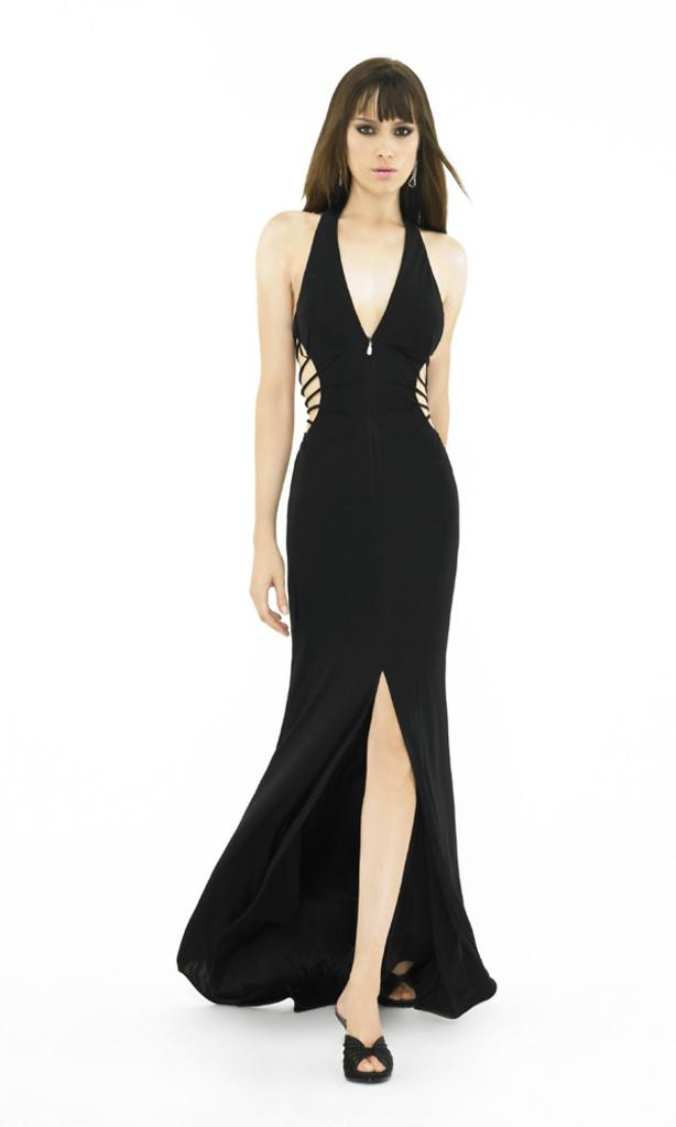 Open Back Side Cut Out Front Slit Long V Neck Black Prom Dress