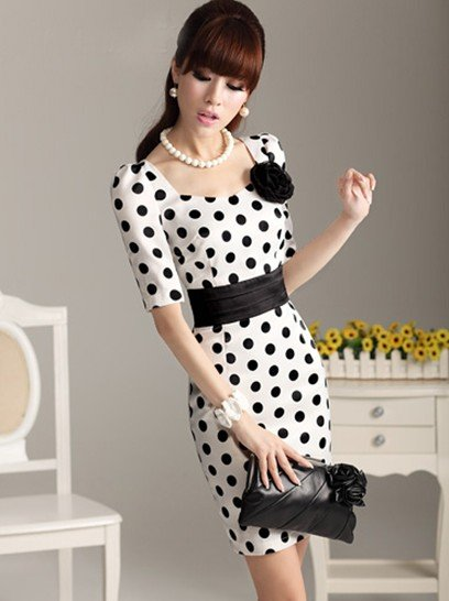 SIZE-From-S-XXXL-Big-doll-Polka-Dot-polka-dot-OL-belt-sleeveless-dress-with-Brooch
