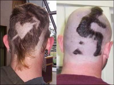 Este estilo de cabello luce exactamente como lo que el pequeño hombre de la derecha está haciendo.